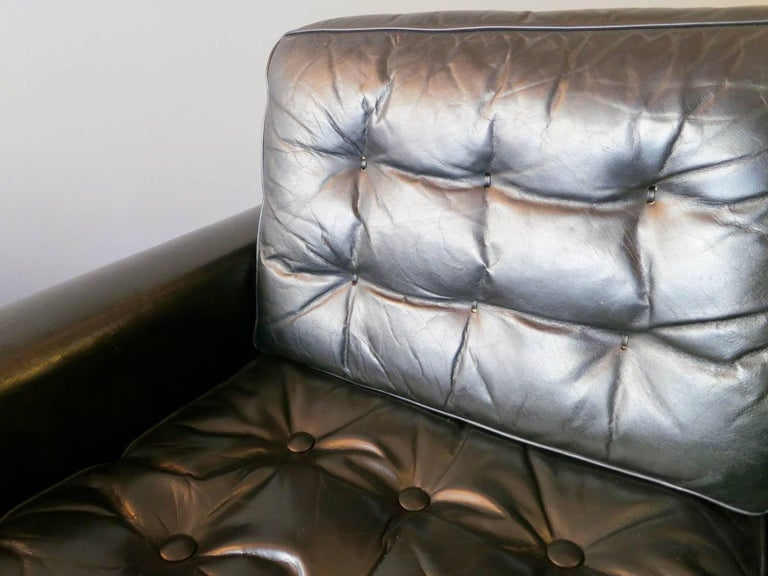 Pair of De Sede Black Leather Armchairs 5