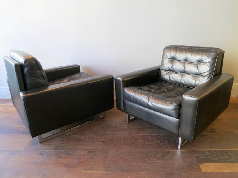 Pair of De Sede Black Leather Armchairs 6