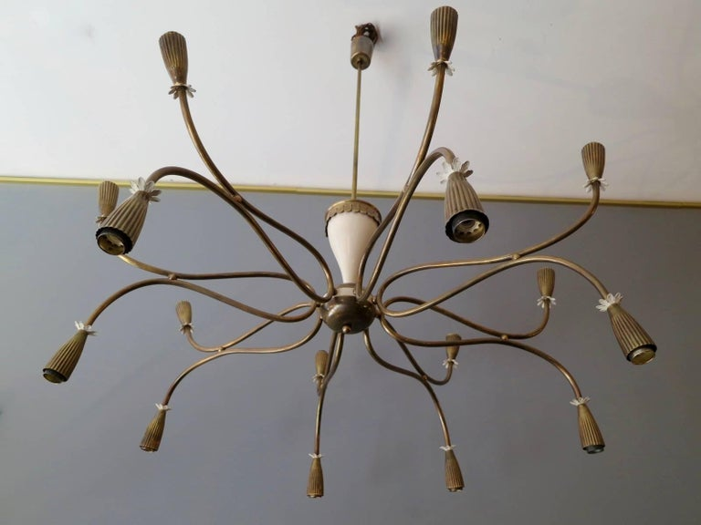 Italian Mid-Century Chandelier Attributed to Arredoluce In Excellent Condition For Sale In London, GB