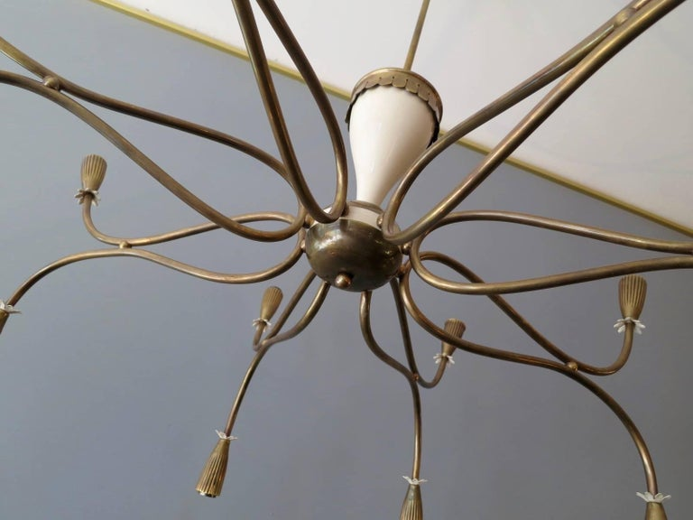 Brass Italian Mid-Century Chandelier Attributed to Arredoluce For Sale