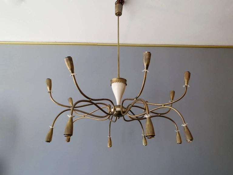 Italian Mid-Century Chandelier Attributed to Arredoluce For Sale 1