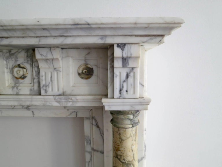 Antique Arabescato and Breche Columned Marble Fireplace Mantle 2