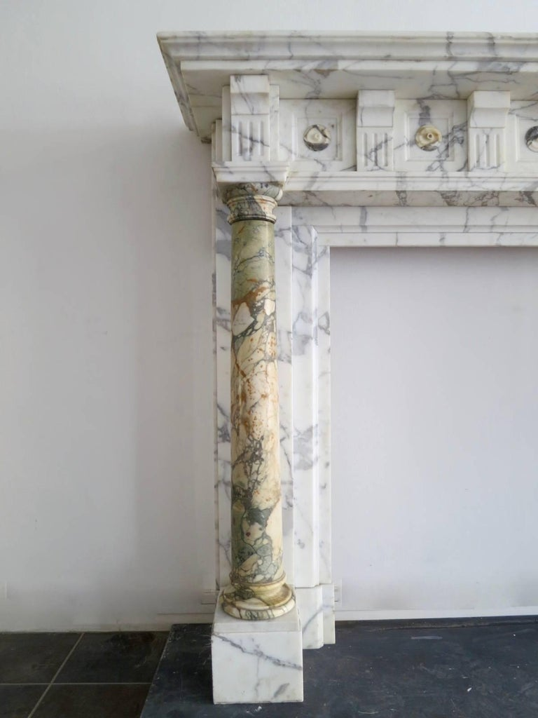 Antique Arabescato and Breche Columned Marble Fireplace Mantle 3