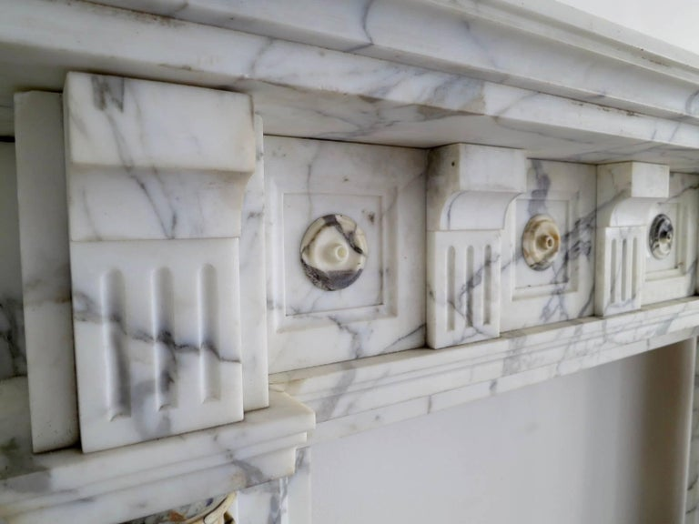 Antique Arabescato and Breche Columned Marble Fireplace Mantle 4