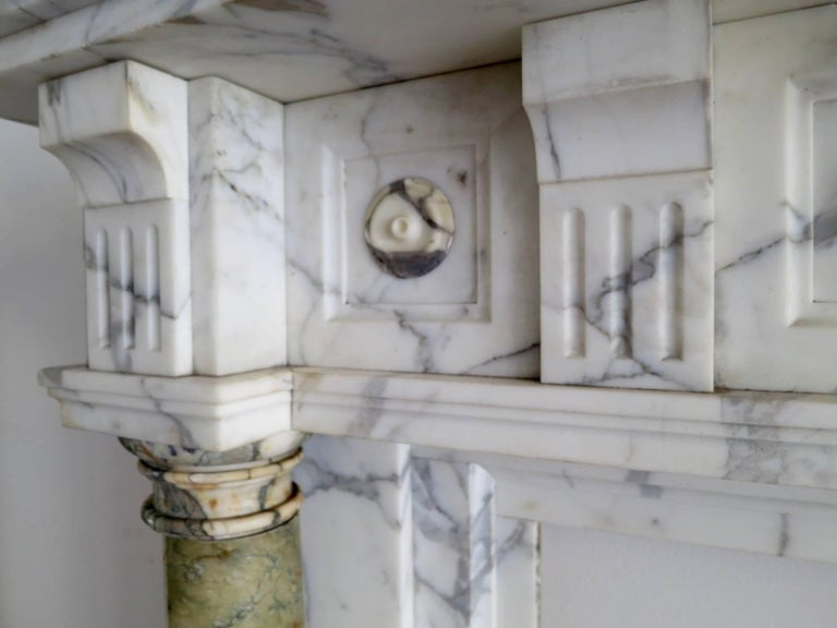 Antique Arabescato and Breche Columned Marble Fireplace Mantle 5