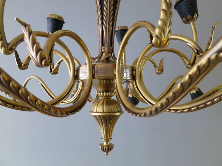 Mid-Century Modern Italian Brass Mid-Century Chandelier For Sale