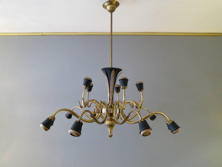 20th Century Italian Brass Mid-Century Chandelier For Sale
