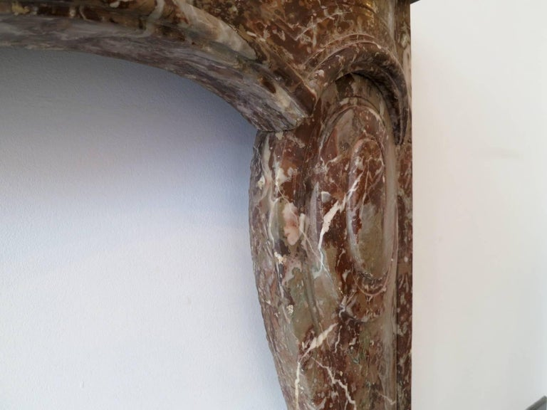 French 18th Century Louis XV Style Marble Fireplace Mantel For Sale