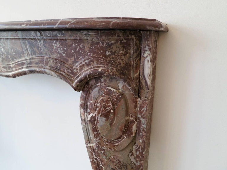 Carved 18th Century Louis XV Style Marble Fireplace Mantel For Sale