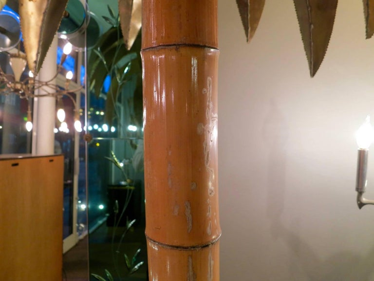 Late 20th Century Tall Maison Jansen Palm Floor Lamp For Sale