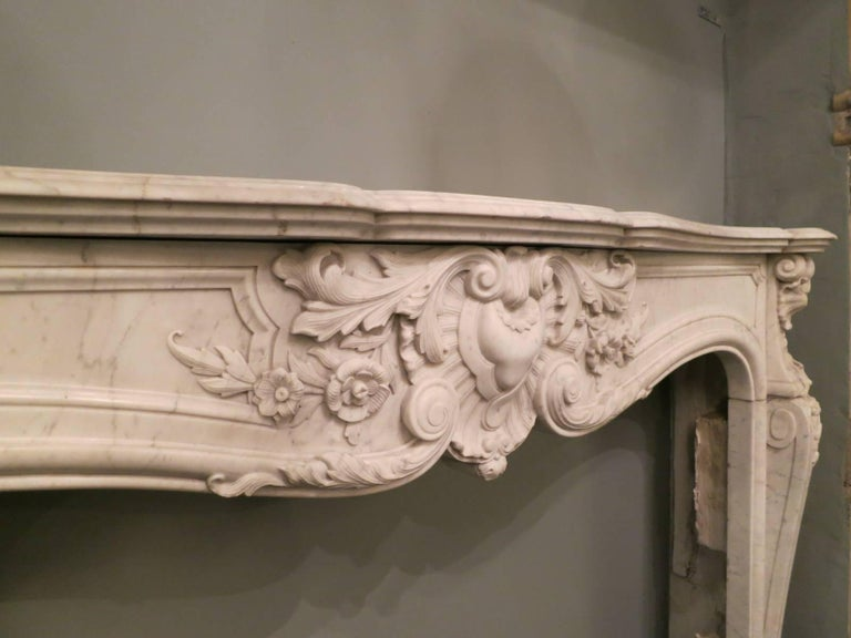 Rococo French 19th Century Louis XV Marble Fireplace Mantel For Sale