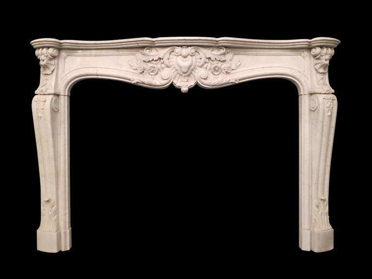 Carrara Marble French 19th Century Louis XV Marble Fireplace Mantel For Sale
