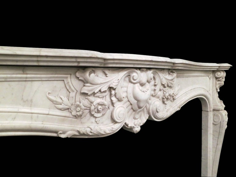 French 19th Century Louis XV Marble Fireplace Mantel For Sale 1