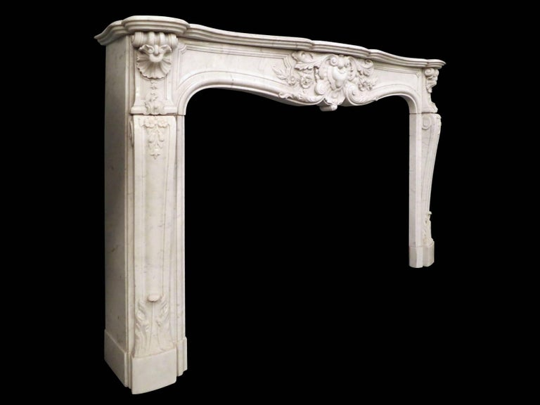 French 19th Century Louis XV Marble Fireplace Mantel For Sale 3