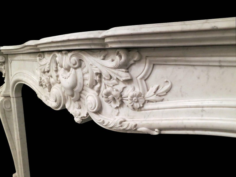 French 19th Century Louis XV Marble Fireplace Mantel For Sale 4