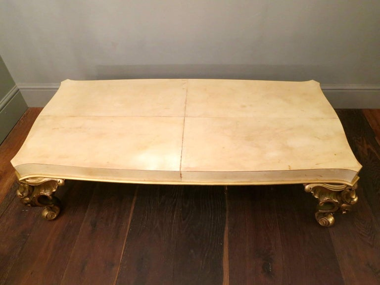 Rococo Maison Jansen Parchment and Gold Gilt Table For Sale