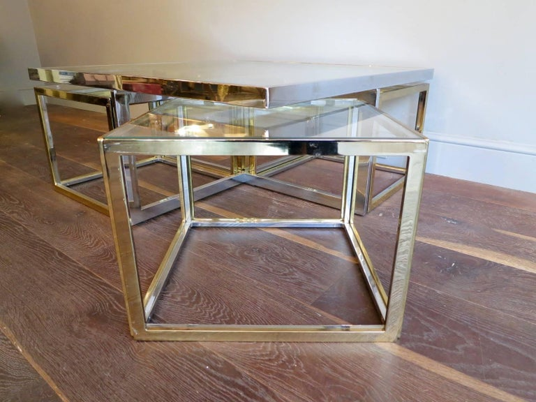 French Large Square Coffee Table in Brass and Chrome by Jean Charles For Sale