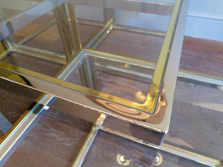 Large Square Coffee Table in Brass and Chrome by Jean Charles In Good Condition For Sale In London, GB