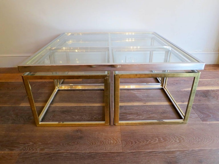Late 20th Century Large Square Coffee Table in Brass and Chrome by Jean Charles For Sale