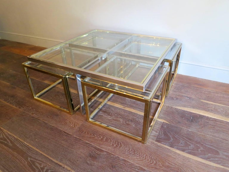 Large Square Coffee Table in Brass and Chrome by Jean Charles For Sale 1