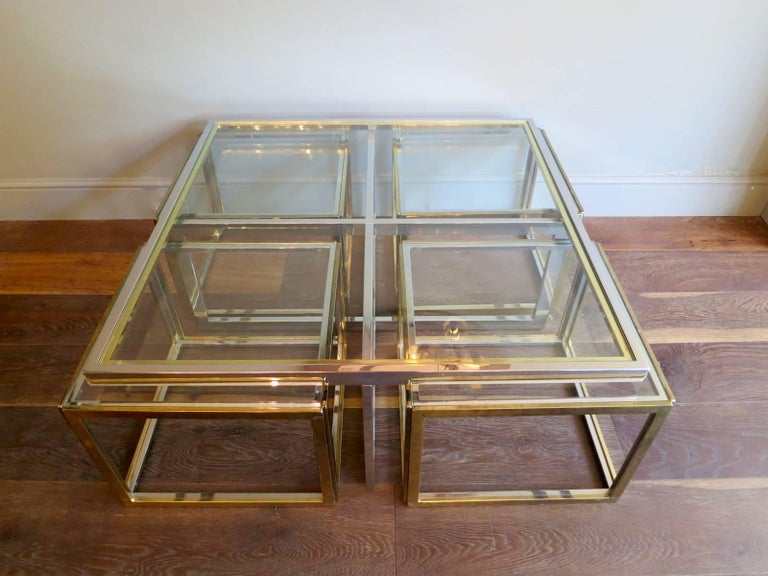 Large Square Coffee Table in Brass and Chrome by Jean Charles For Sale 2