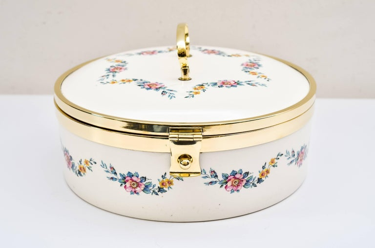 Art Deco ceramic bread box, circa 1920 by Ditmar Urbach Polished brass and stove enamelled.