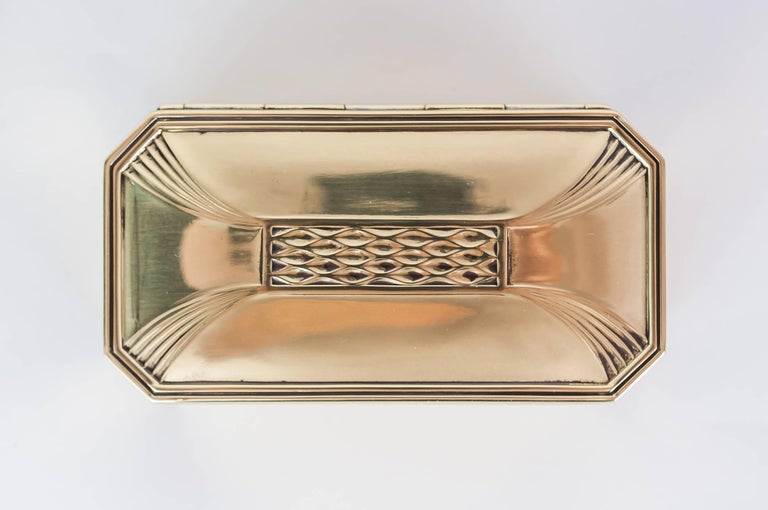 Art Deco jewelry box, circa 1920s. Polished and stove enamelled.