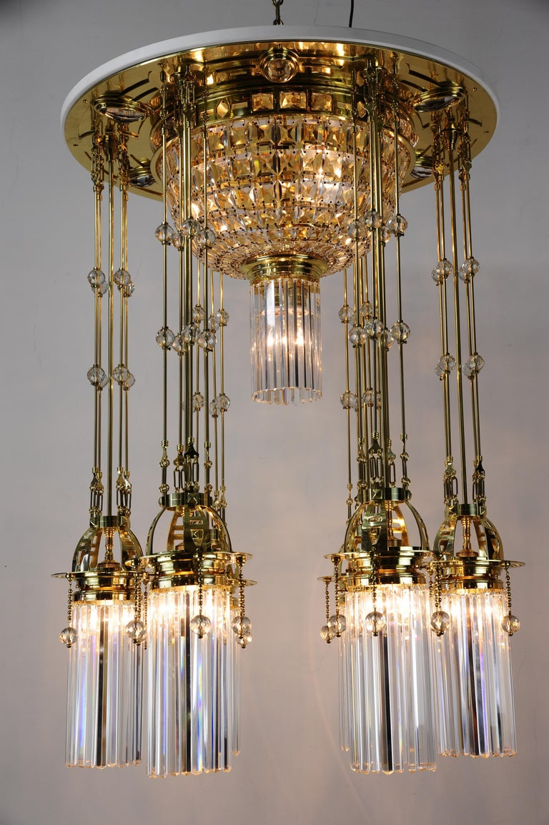Lacquered Magnificent and Huge Art Deco Chandelier Vienna, 1920s For Sale