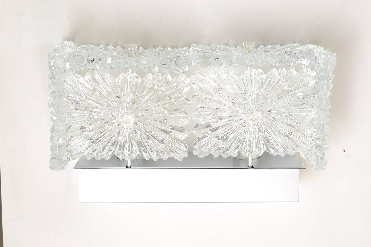 Large Crystal Wall Sconces : Pair of Large Crystal Glass Wall Sconces Lamps by Kinkeldey For Sale at 1stdibs