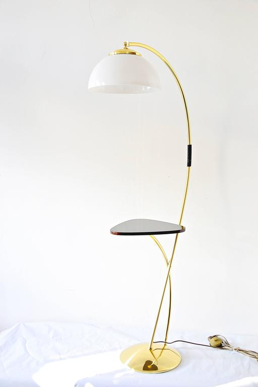 Floor Lamp With A Wood Table And White Opal Glass Shade 1950s At