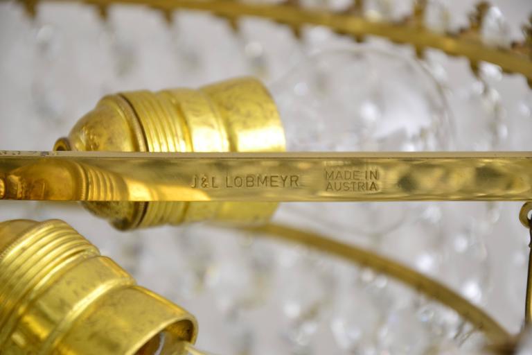 Lobmeyr, chandelier. Vienna, 1950s. Crystal glass. Six bulbs. Excellent original condition.