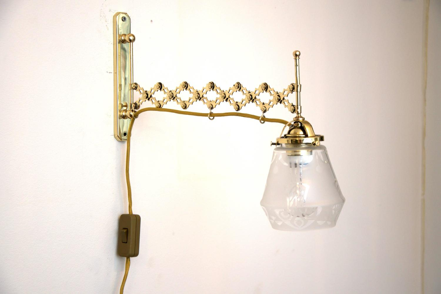 Wall Lamps Extendable : Two Art Deco Extendable Wall Lamps with Original Glass For Sale at 1stdibs