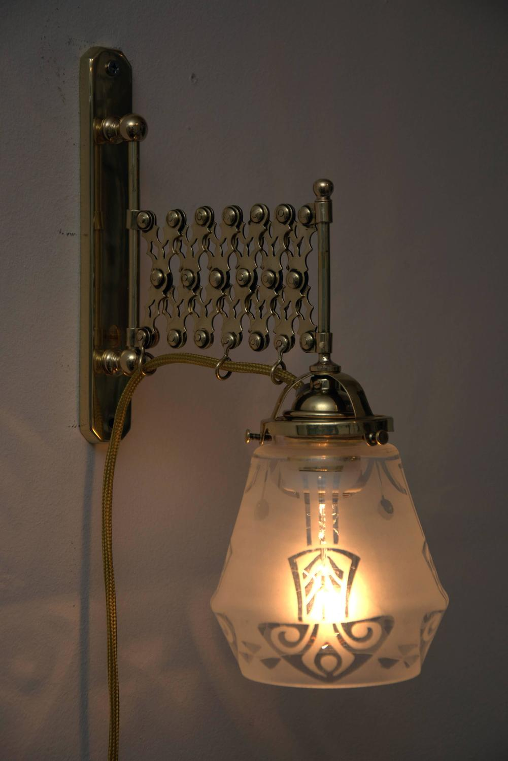 Wall Lights Extendable : Two Art Deco Extendable Wall Lamps with Original Glass For Sale at 1stdibs