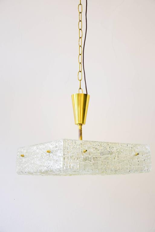 Mid-20th Century Two Kalmar Chandeliers, Textured Glass, Austria, 1950s For Sale