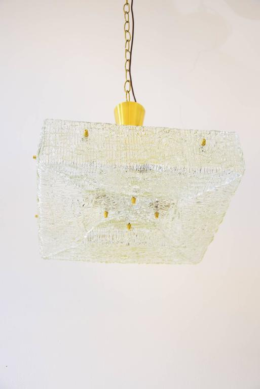 Two Kalmar chandeliers, textured glass, Austria, 1950s.