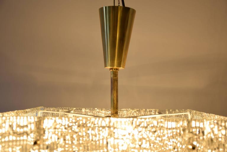 Brass Two Kalmar Chandeliers, Textured Glass, Austria, 1950s For Sale