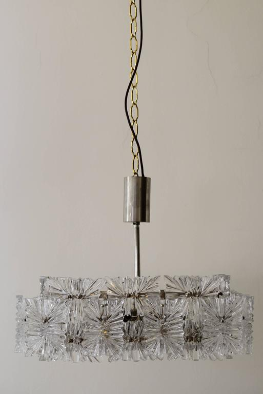 Beautiful mid century modernist etched glass chandelier by kinkeldey beautiful mid century modernist etched glass chandelier by kinkeldey original condition aloadofball Choice Image
