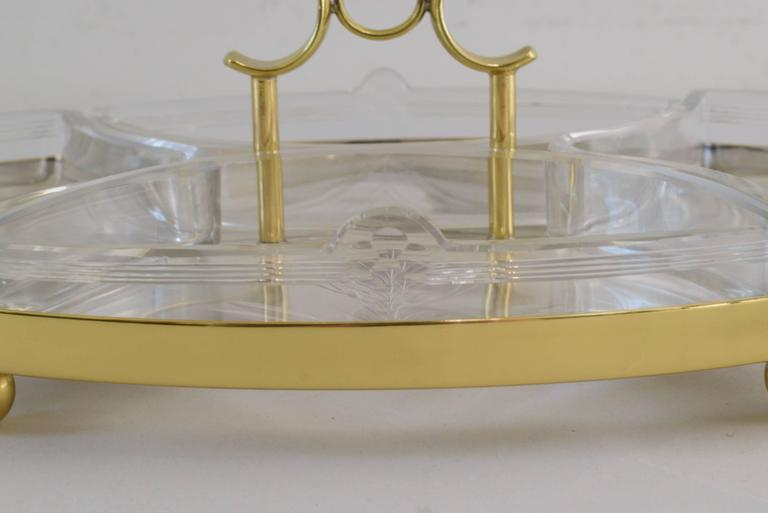 Brass Jugendstil WMF Centerpiece with Original Glass For Sale
