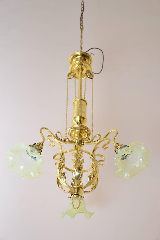 Brass Adjustable Jugendstil Flowers Chandelier with Palme König Glass Shades For Sale