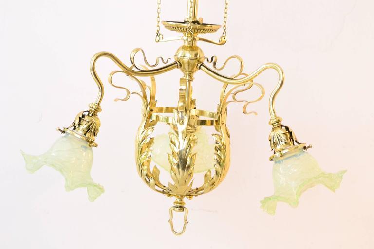 Austrian Adjustable Jugendstil Flowers Chandelier with Palme König Glass Shades For Sale