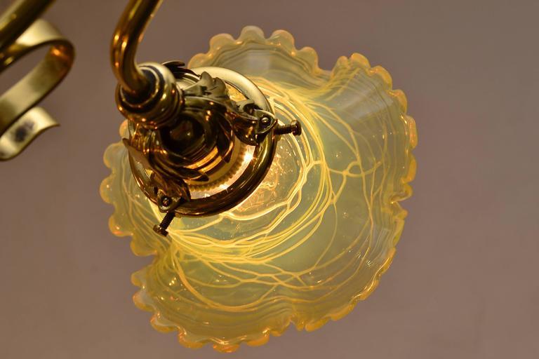 Adjustable Jugendstil Flowers Chandelier with Palme König Glass Shades For Sale 2