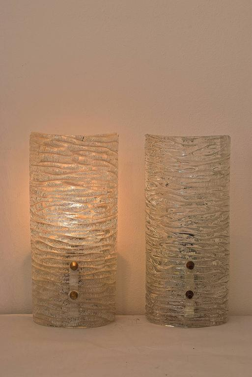 Mid-Century Modern Two Kalmar Frosted Sconces Glass and Brass, 1950s For Sale