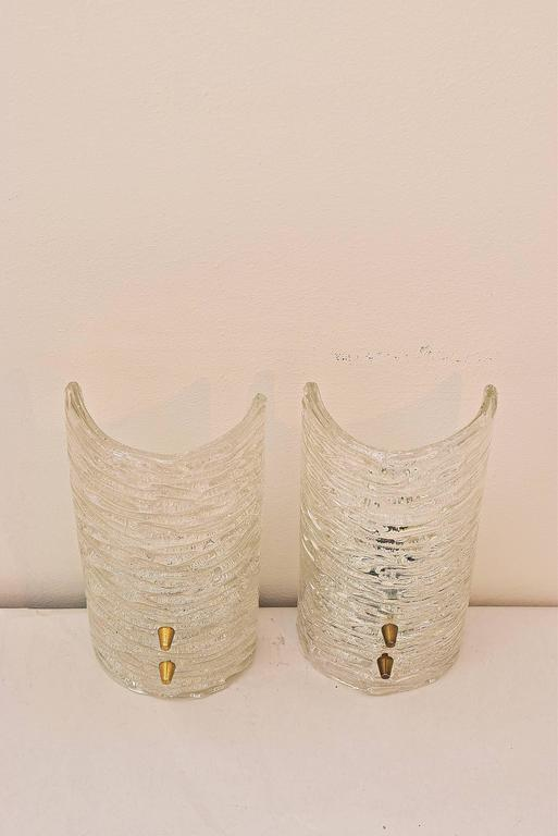 Two Kalmar Frosted Sconces Glass and Brass, 1950s In Excellent Condition For Sale In Wien, AT