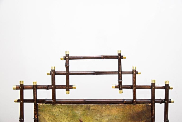 jugendstil bamboo paravent with oil painting for sale at 1stdibs. Black Bedroom Furniture Sets. Home Design Ideas