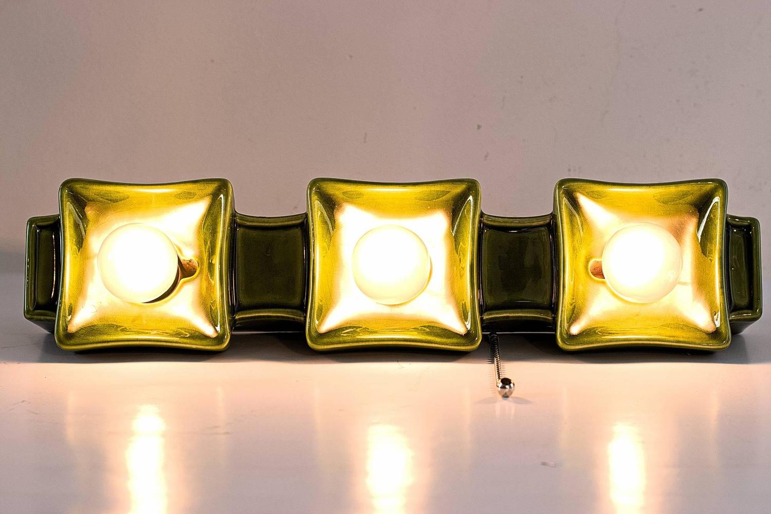Italian Ceramic Wall Sconces : Italian Ceramic Wall Lamp with Three Lights, 1970s For Sale at 1stdibs