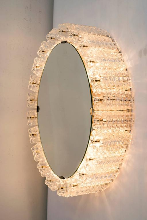 Mid-Century Modern Oval Backlight Mirror by Austrolux, Vienna, 1950s For Sale