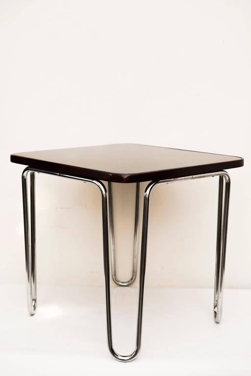 Thonet chrome table with wood and glass for sale at 1stdibs for Table thonet