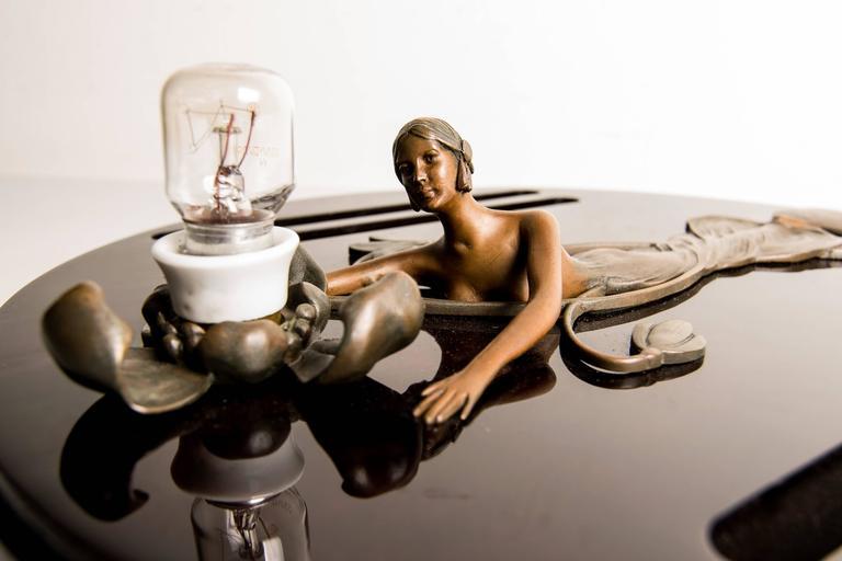 Art Nouveau Auguste Rubin Figural Bronze Wall Lamp on Wood For Sale