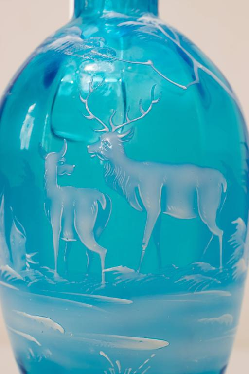 Austrian Beautiful Blue Carafe with Hunting Motif For Sale