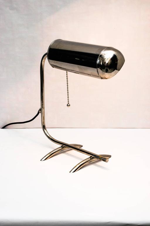 Nickel Art Deco Table Lamp, 1920s For Sale